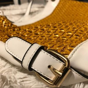 Handbags - White & Gold Fishnet Style Purse
